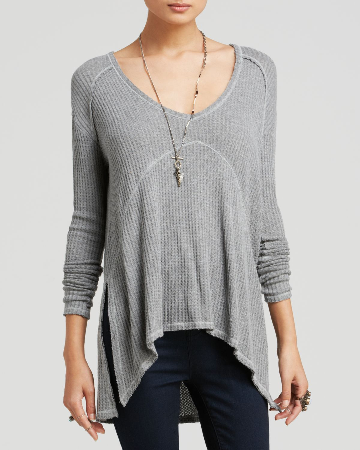 51644c48170 Free People Top - Drippy Thermal Sunset Park in Gray - Lyst