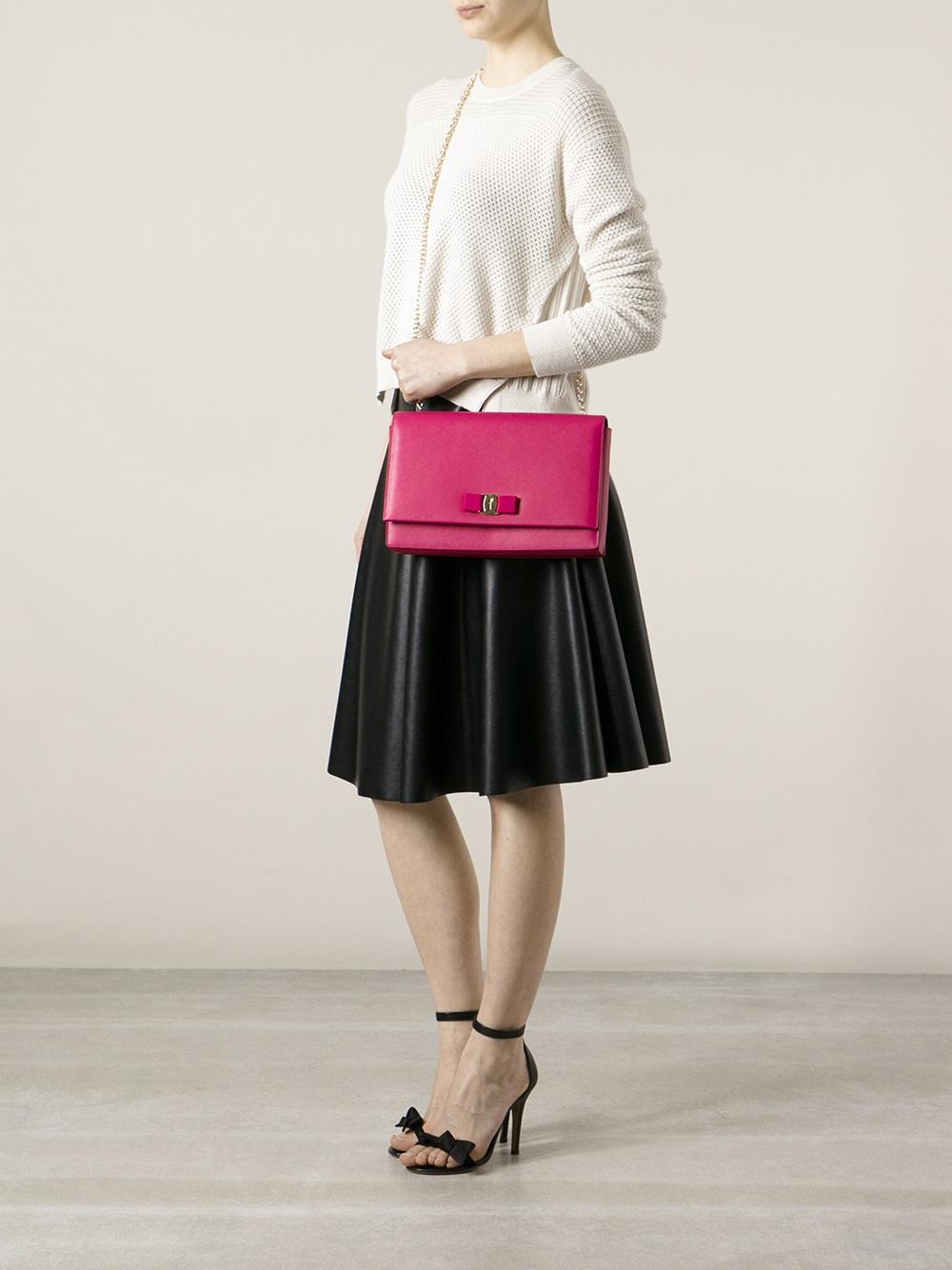 e0ea01912183 Lyst Ferragamo Ginny Shoulder Bag In Pink