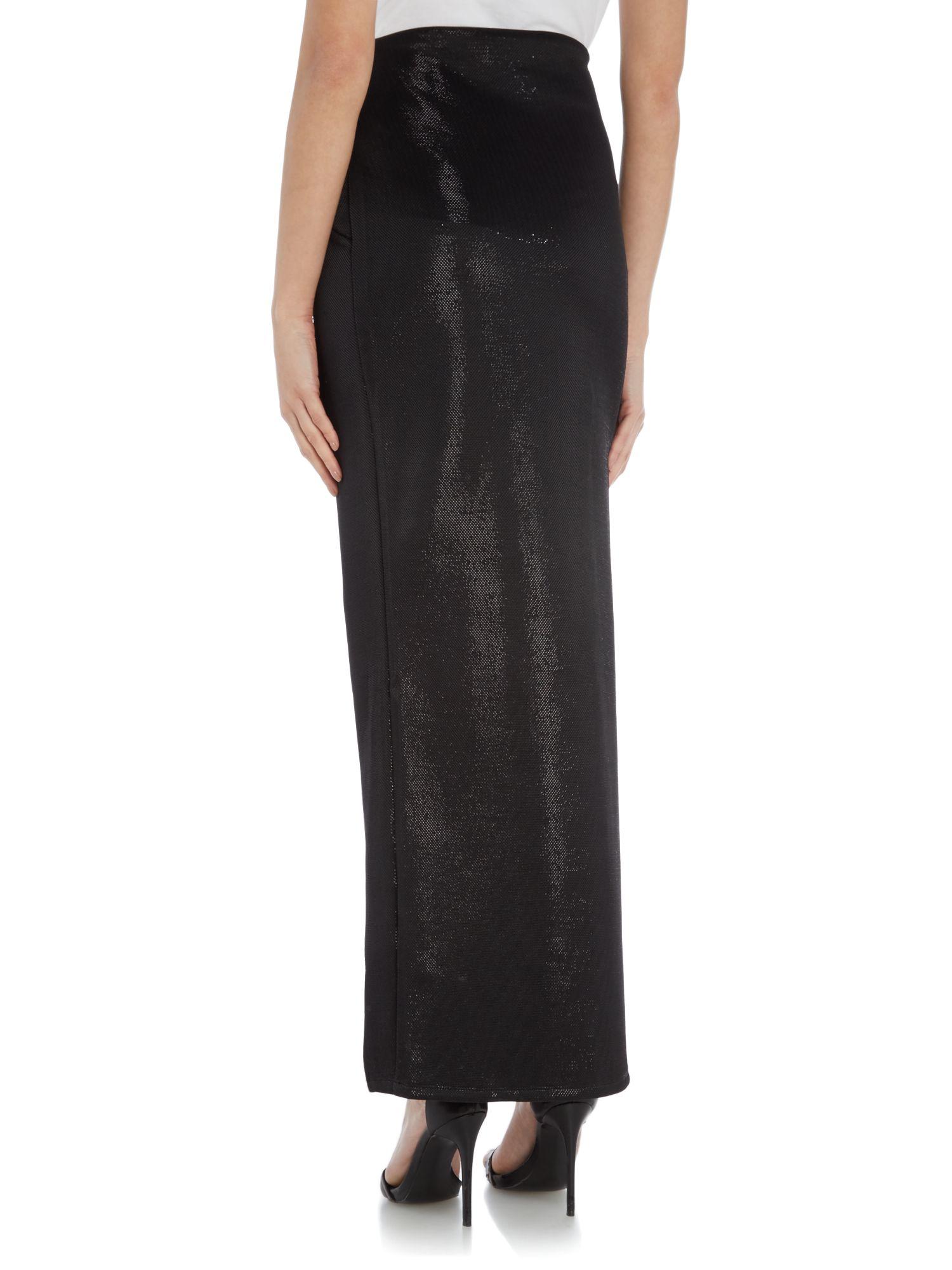 lipsy split maxi dress with shimmer skirt in black lyst