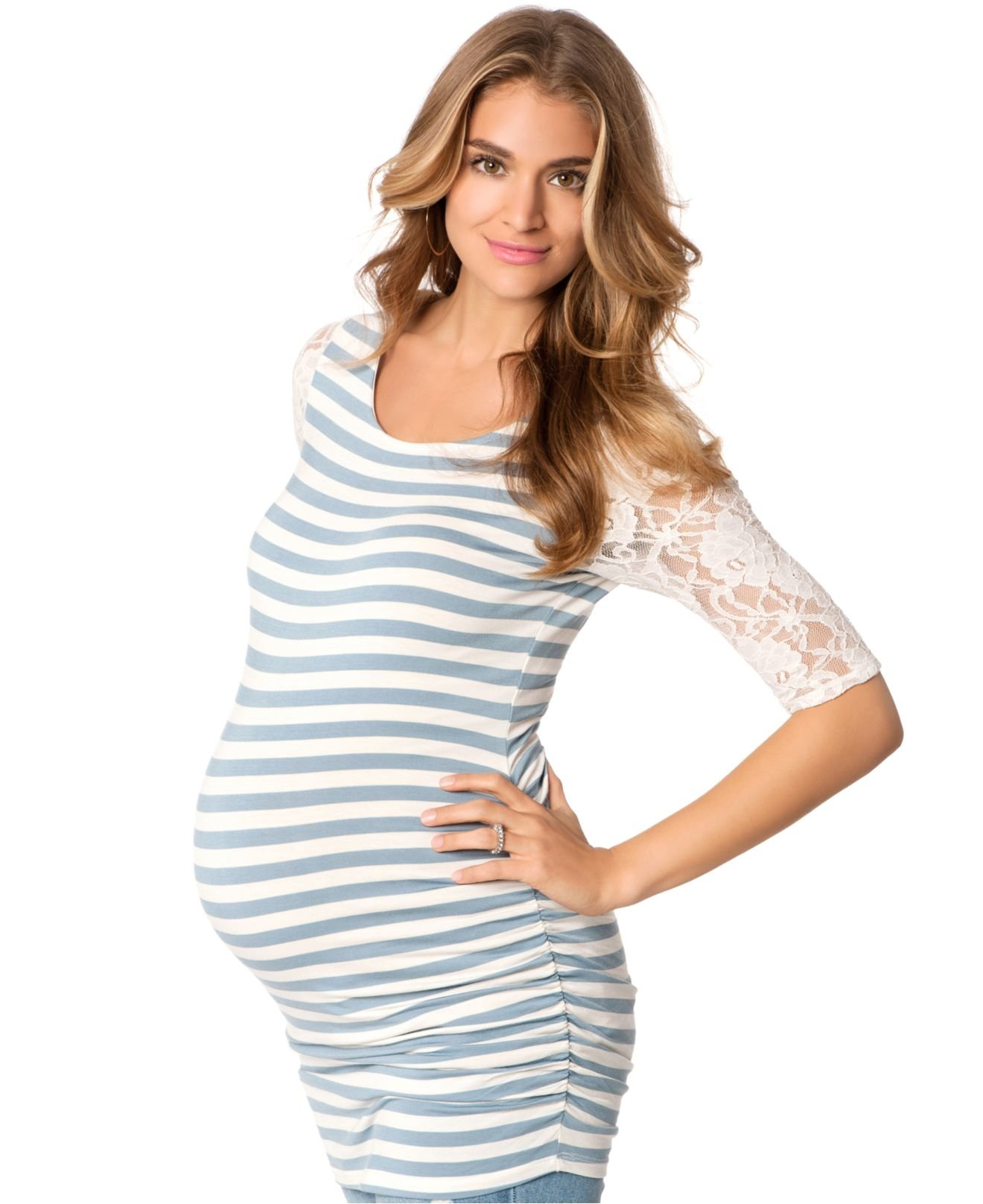 Jessica simpson maternity striped lace trim ruched top in white lyst gallery ombrellifo Gallery