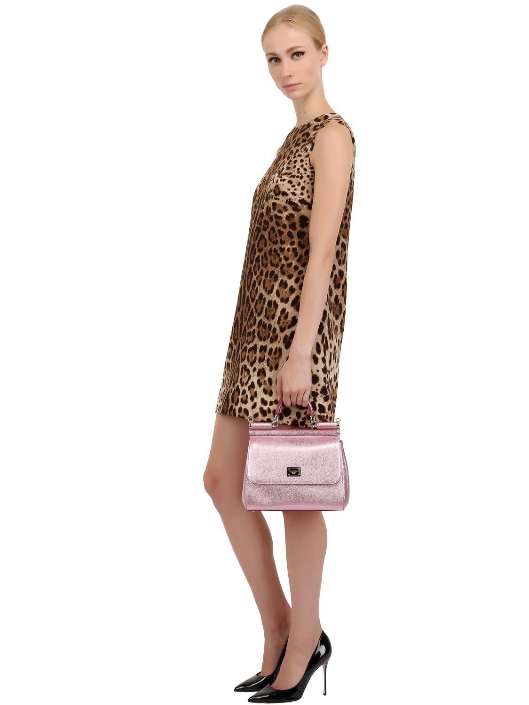 1d3cb74c4387 Lyst - Dolce   Gabbana Medium Sicily Lamé Dauphine Leather Bag in Pink