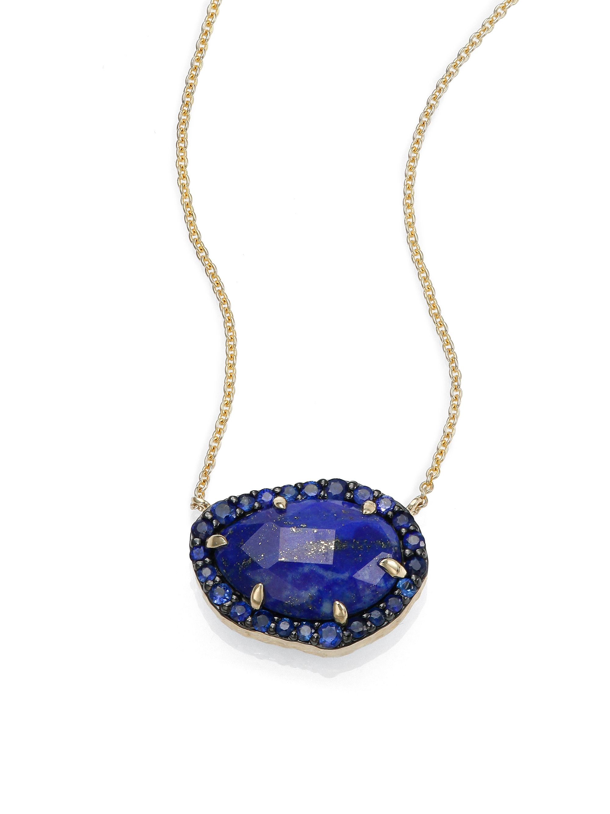 gold blue vavavoo products necklace with lapis chain pendant pamela