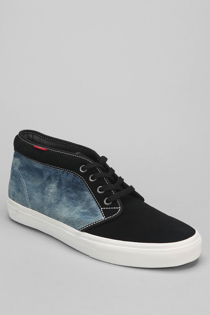 vans 69 bleached denim mens chukka boot in black for