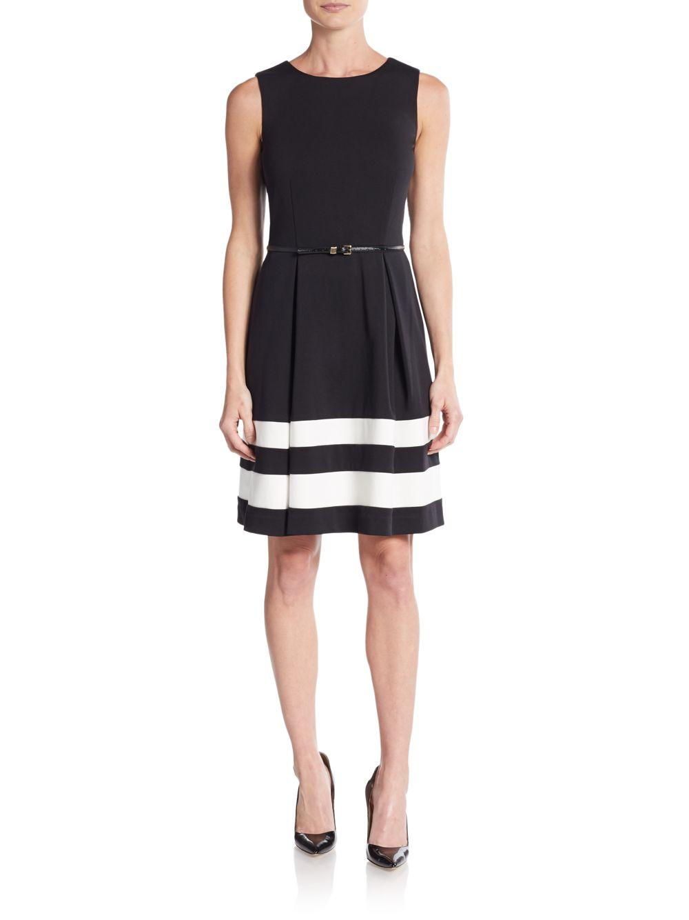 calvin klein belted stripe a line dress in black lyst
