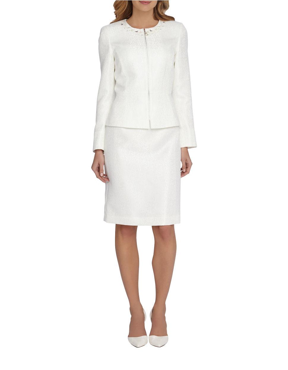 Tahari Plus 2-piece Beaded Jacket And Skirt Set - Lyst