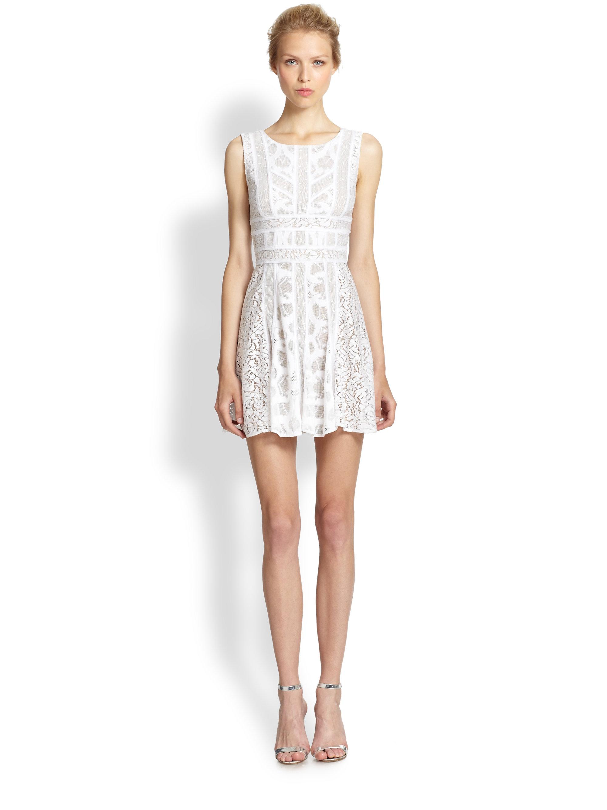d1c91d211afd Lyst - BCBGMAXAZRIA Lace Fit   Flare Dress in White