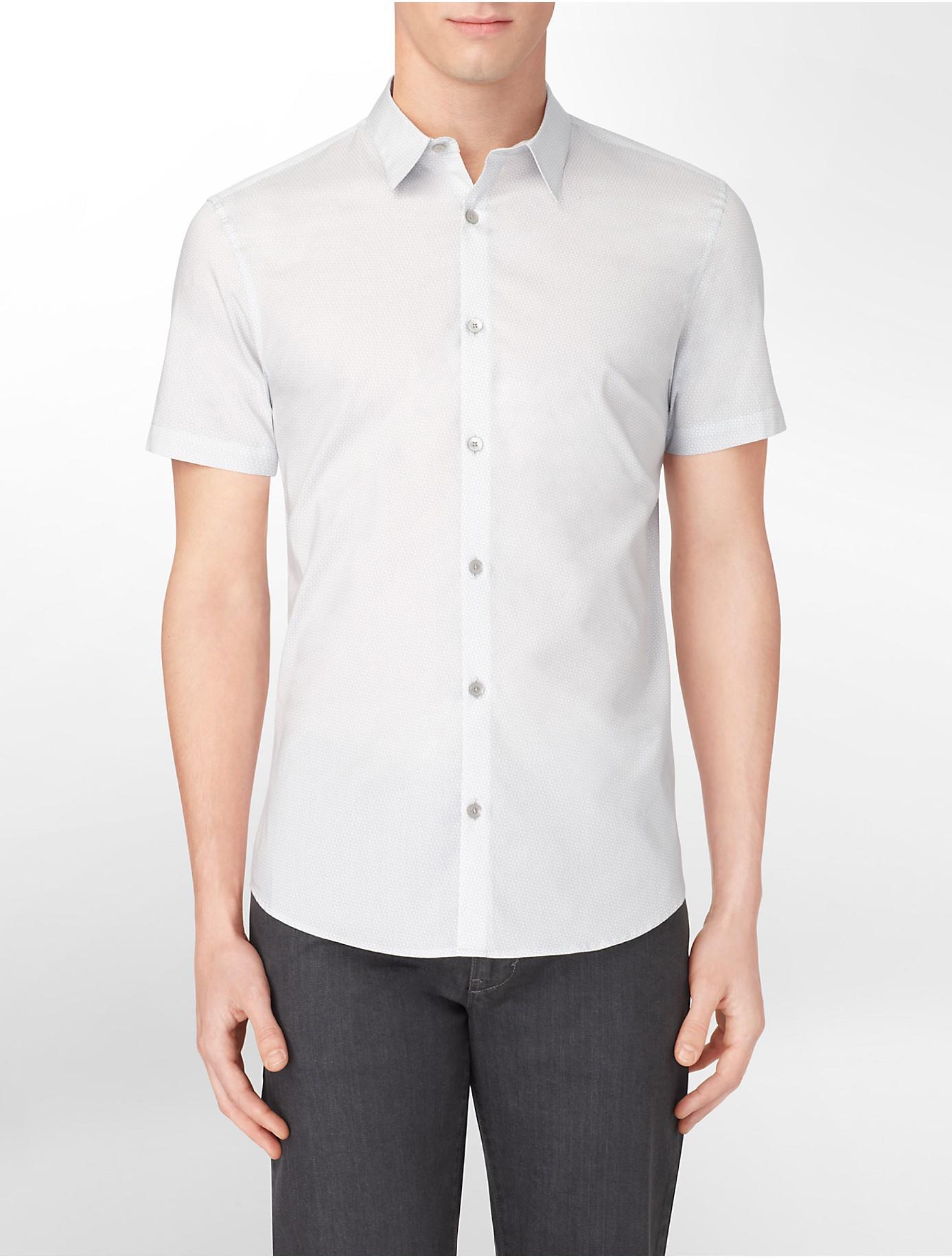 Calvin klein white label slim fit chambray collar cotton for Calvin klein slim fit stretch shirt