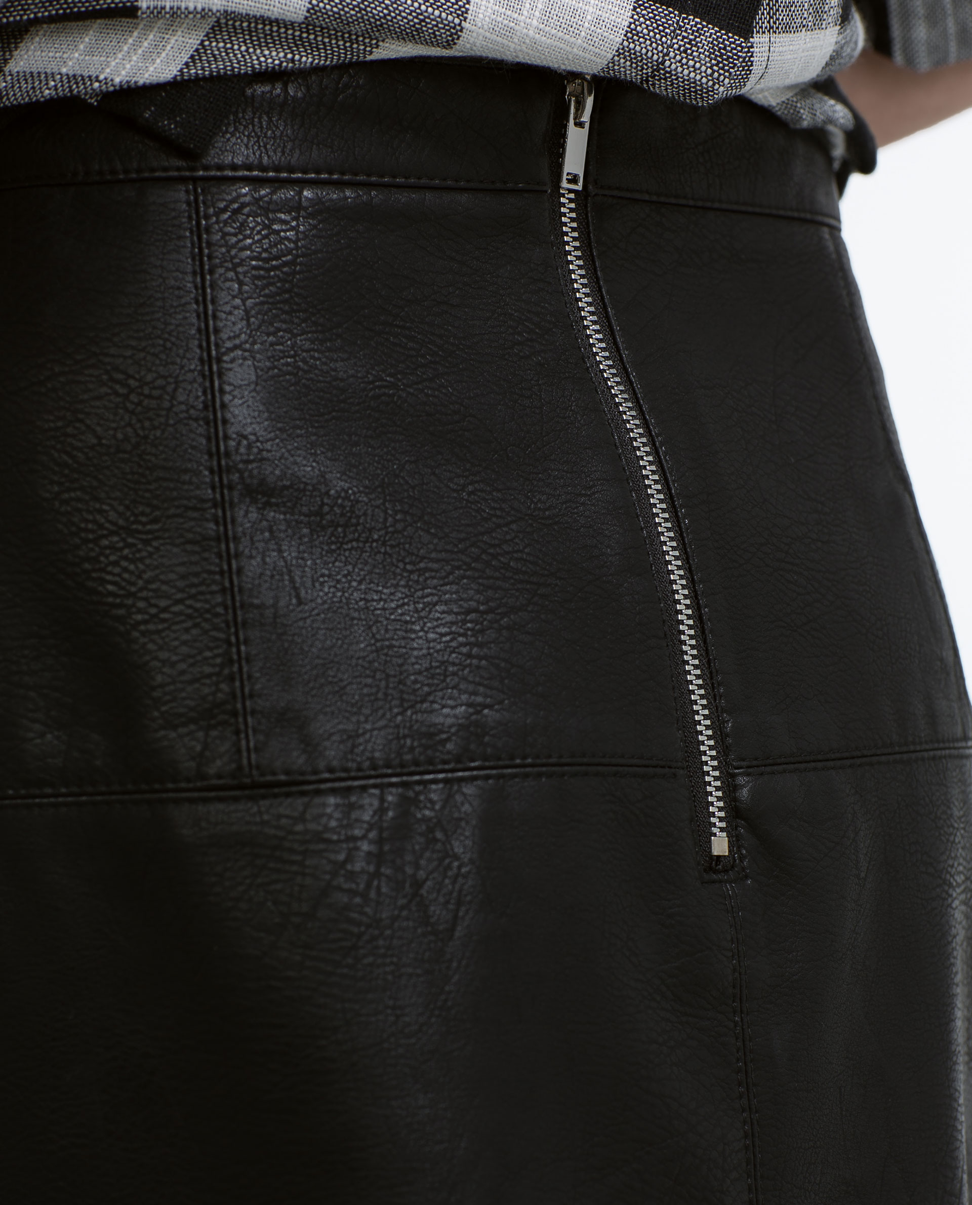 zara flared faux leather skirt in black lyst