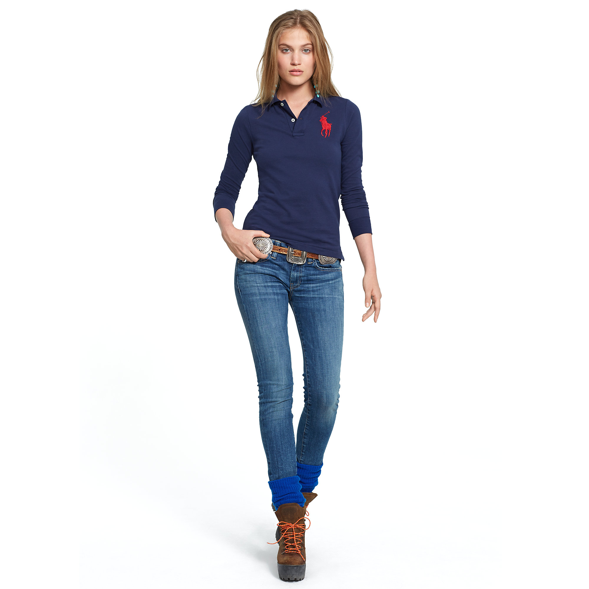 polo ralph lauren skinny fit big pony polo in blue lyst. Black Bedroom Furniture Sets. Home Design Ideas