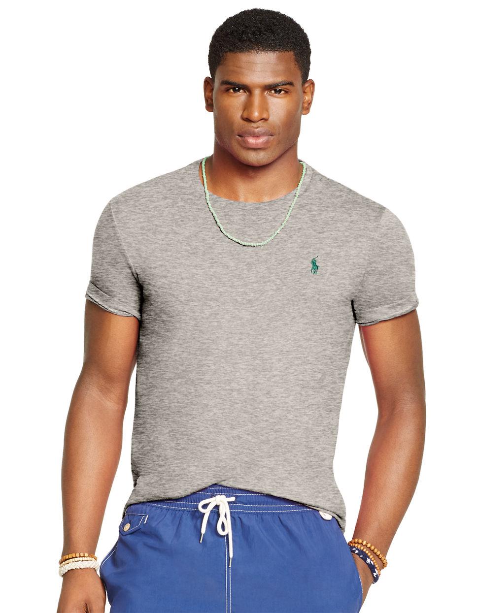 Lyst polo ralph lauren jersey crewneck t shirt in gray for Ralph lauren polo jersey shirt