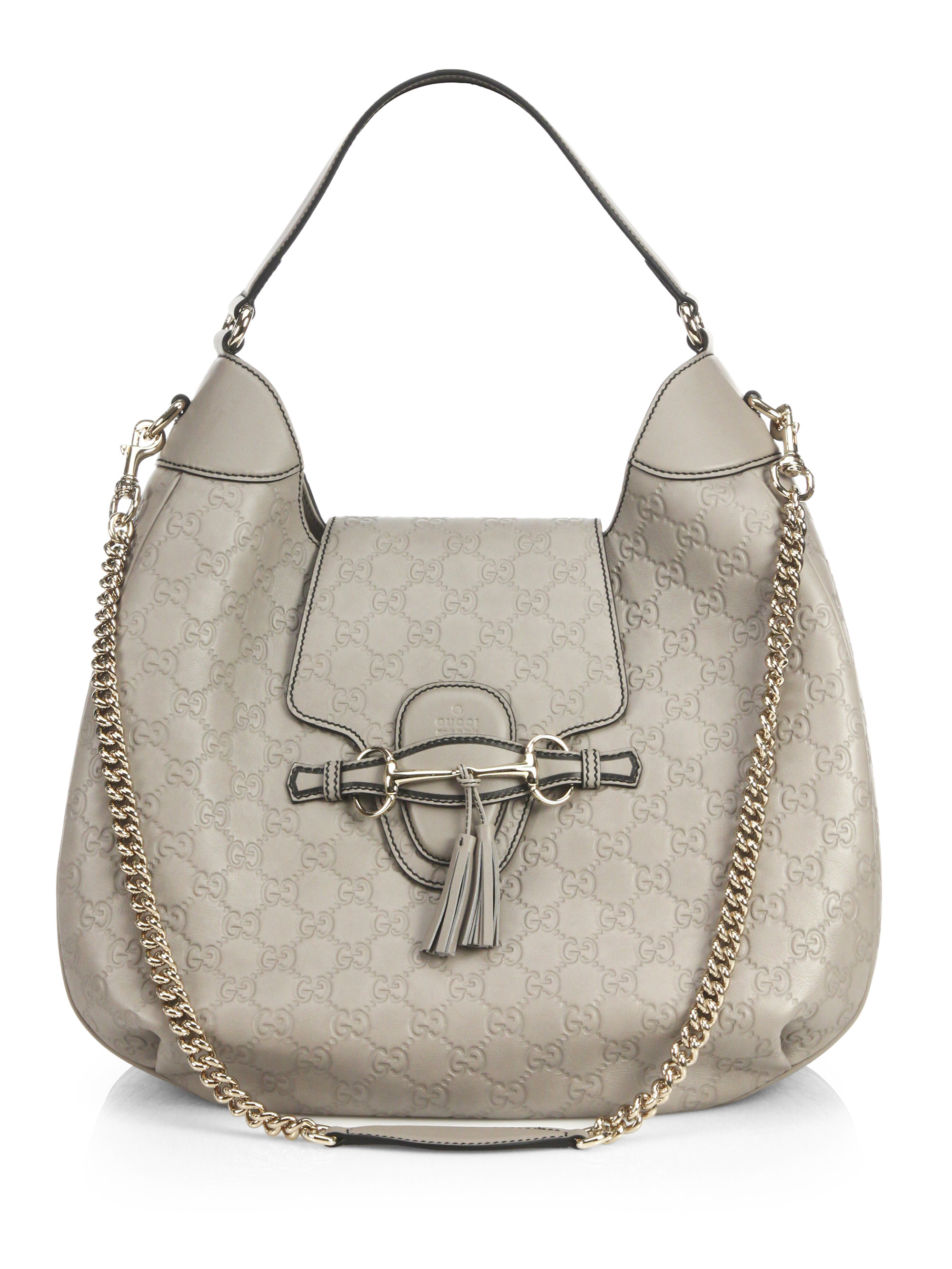 83b5493f7cd Lyst - Gucci Emily Ssima Leather Hobo Bag in Natural