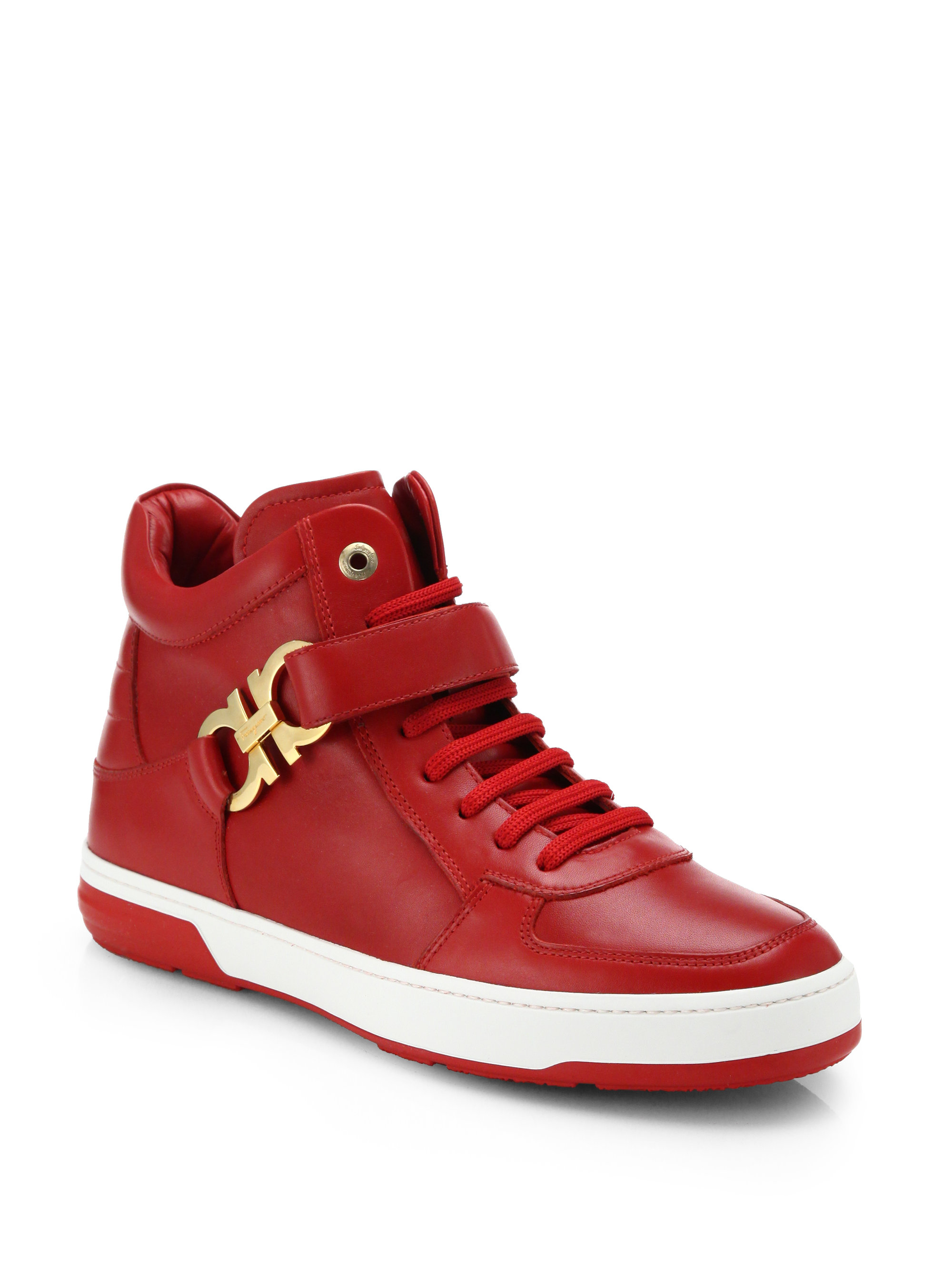 Ferragamo Nayon Gancini Leather High-top Sneakers in Red for Men ...
