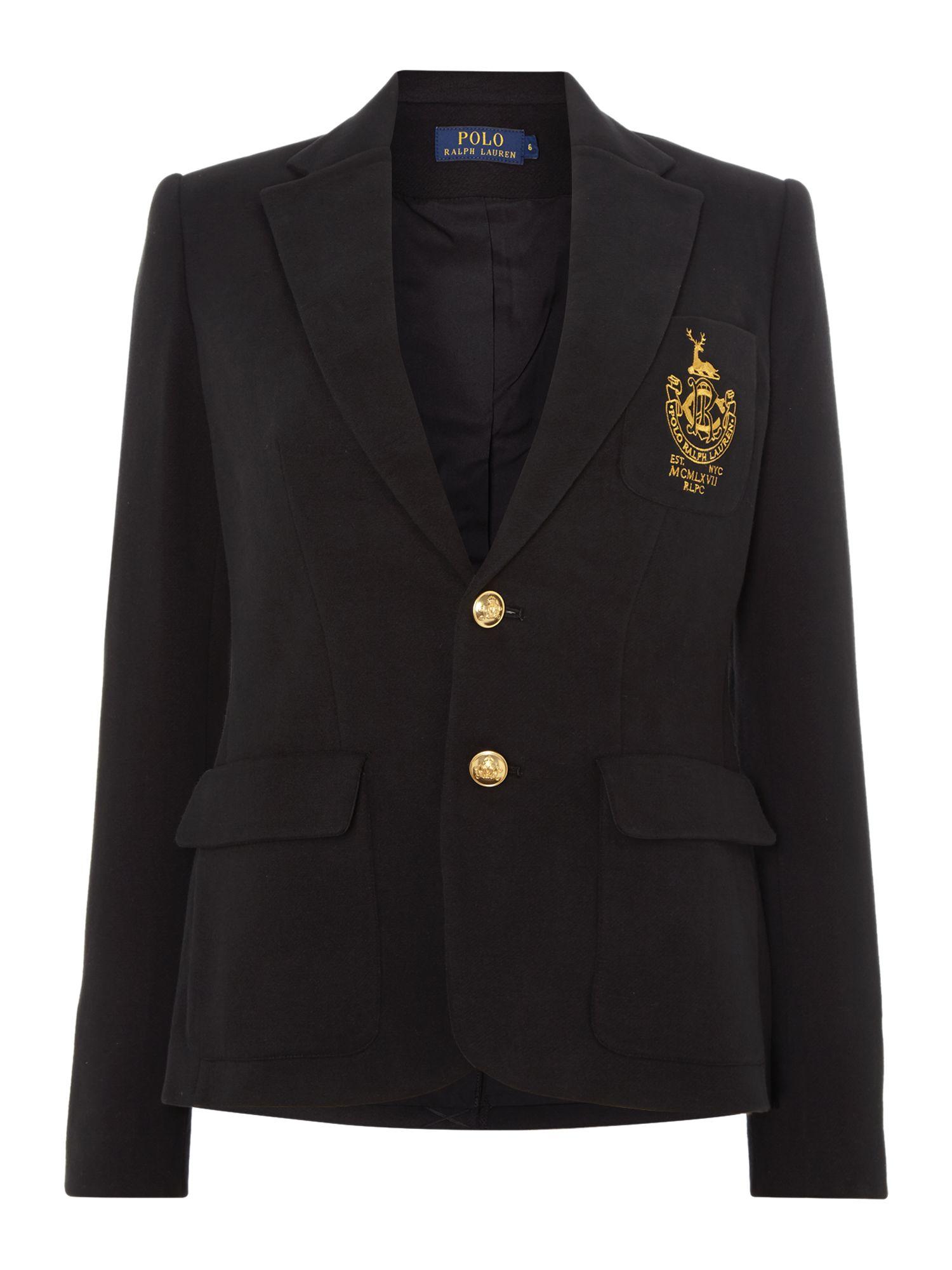 polo ralph lauren long sleeved crested blazer in black lyst. Black Bedroom Furniture Sets. Home Design Ideas