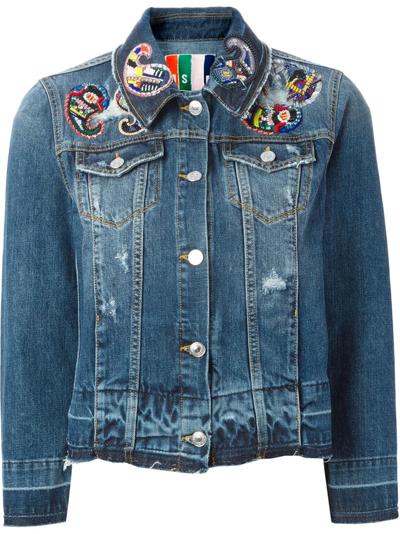 Lyst Msgm Beaded Paisley Patch Denim Jacket In Blue