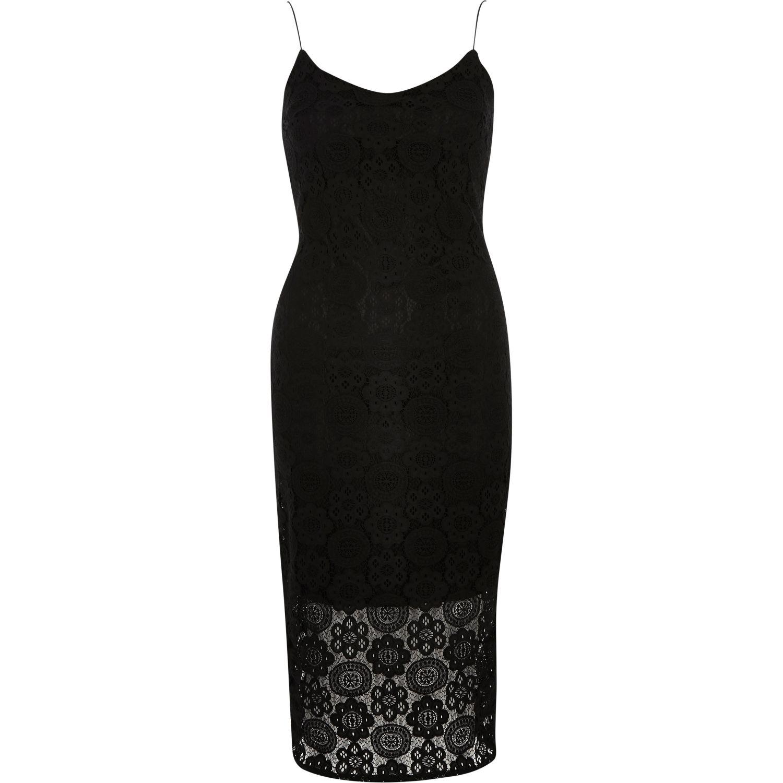 37b38e33be River Island Black Lace Cami Bodycon Midi Dress in Black - Lyst