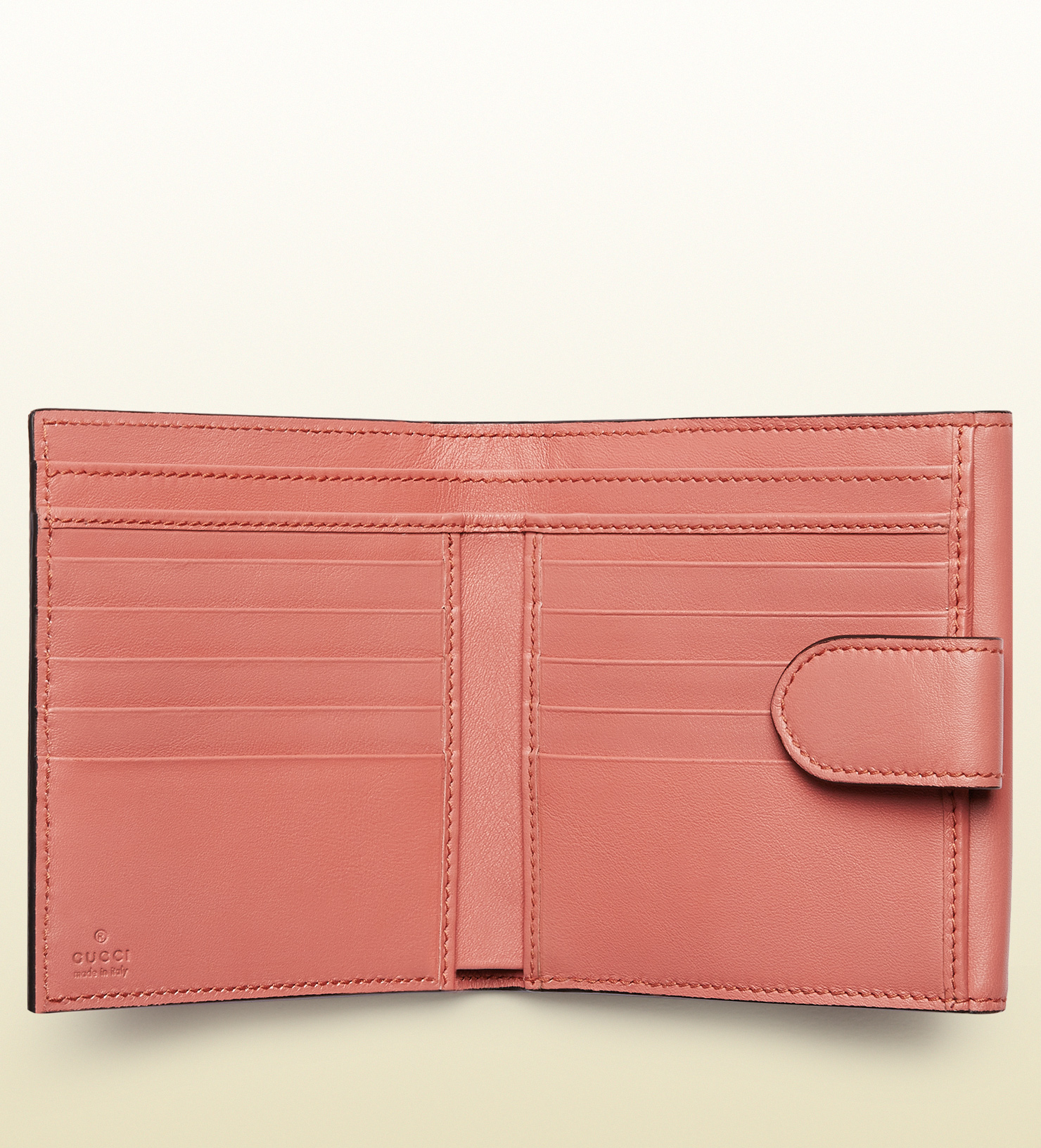 dd434ab3fb9 Lyst - Gucci Icon Leather French Flap Wallet in Pink