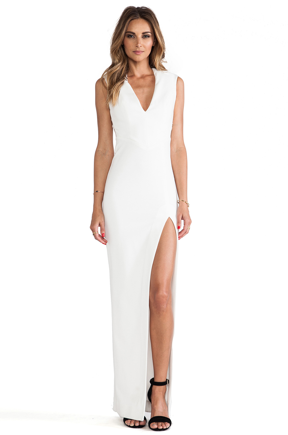 7ad49a3c8467 Lyst - Nicholas Event V Neck Gown in White