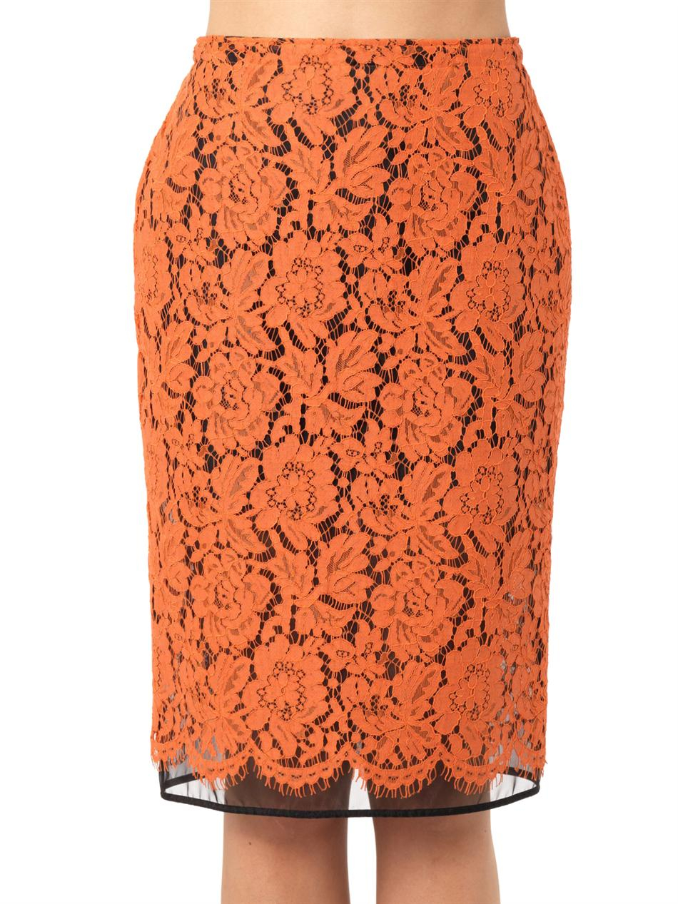 Msgm Lace Pencil Skirt in Orange | Lyst