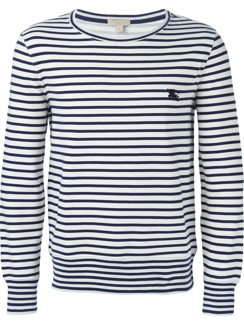 Burberry brit striped long sleeve t shirt in blue for men for Blue and white striped long sleeve t shirt