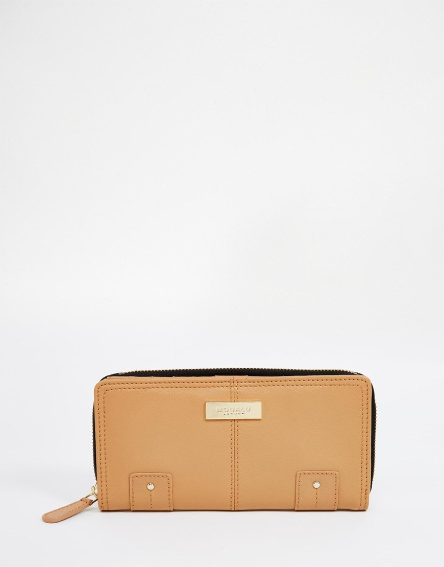 brown leather zip around purse