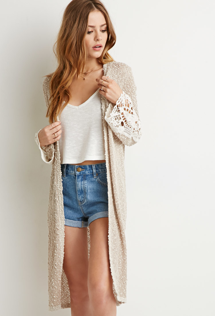 Forever 21 Textured Longline Cardigan in Brown | Lyst