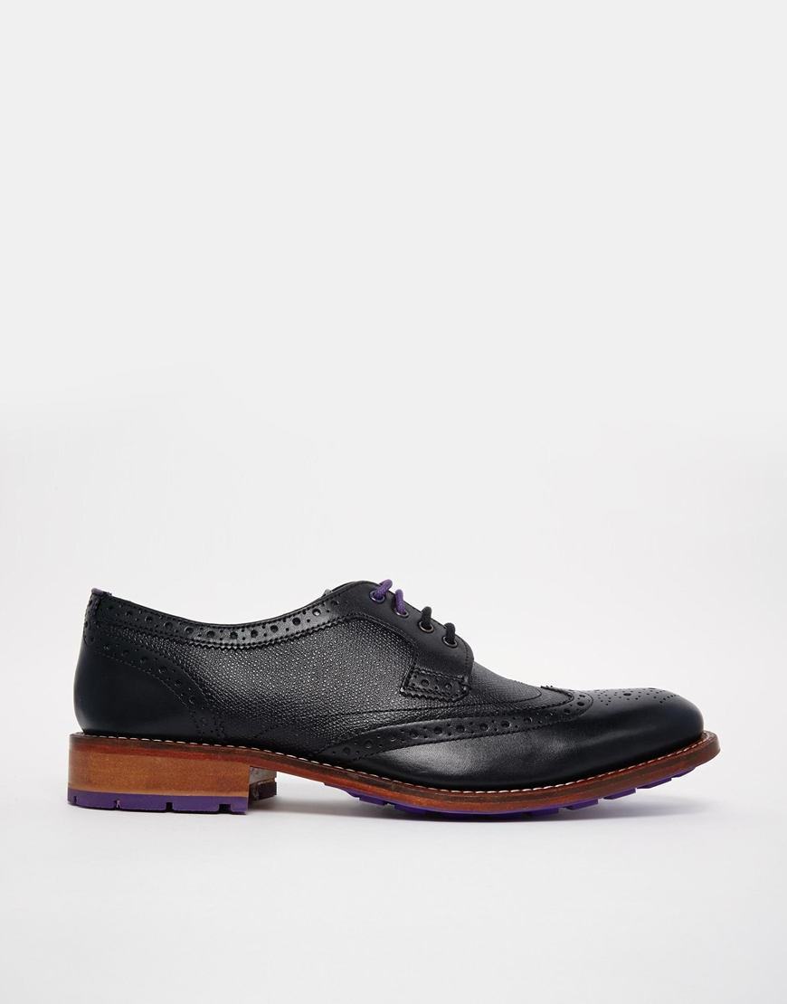 ted baker cassiuss brogue shoes in black for lyst