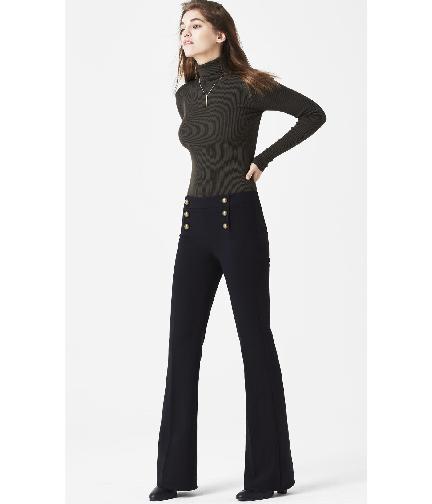 Express Mid Rise Sailor Flare Pant in Black | Lyst