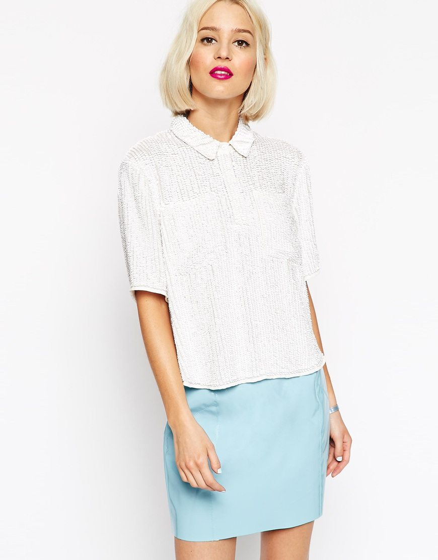 16b25419a7 ASOS Sequin T- Shirt in White - Lyst