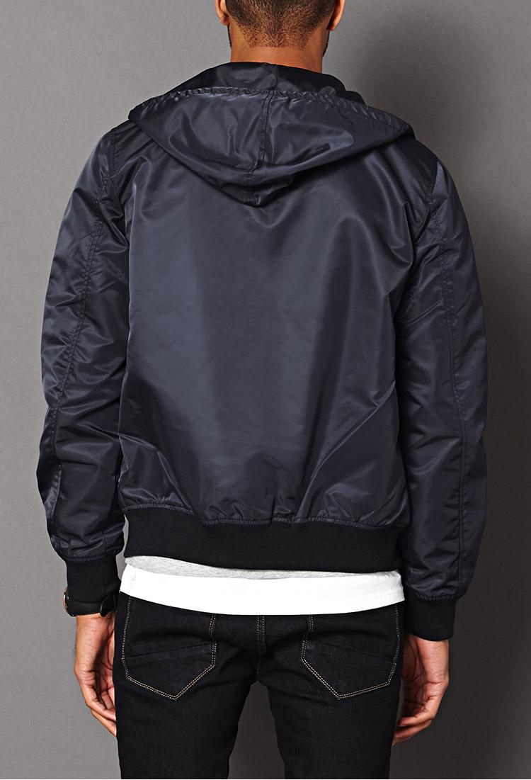 Forever 21 Hooded Bomber Jacket in Blue for Men | Lyst