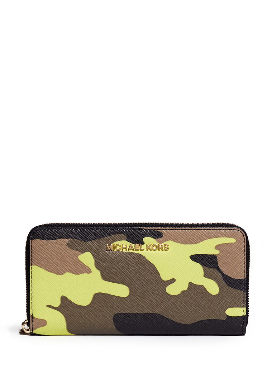 ff507cd47730 ... discount code for lyst michael kors jet set travel camouflage zip  around 74c74 be6eb