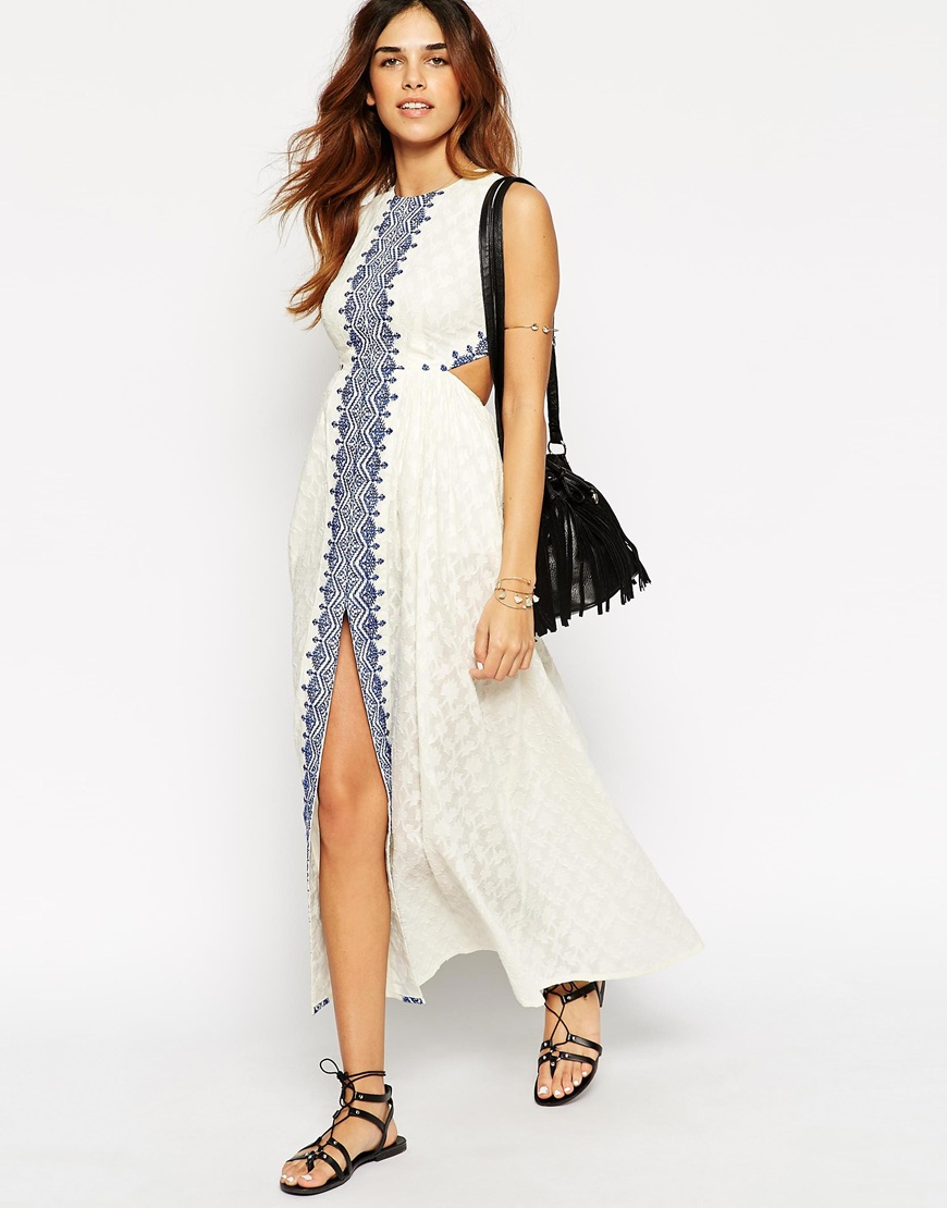 ed450ea1ef95 Lyst - ASOS Petite Maxi Dress With Festival Embroidery And Cut Out Back in  White