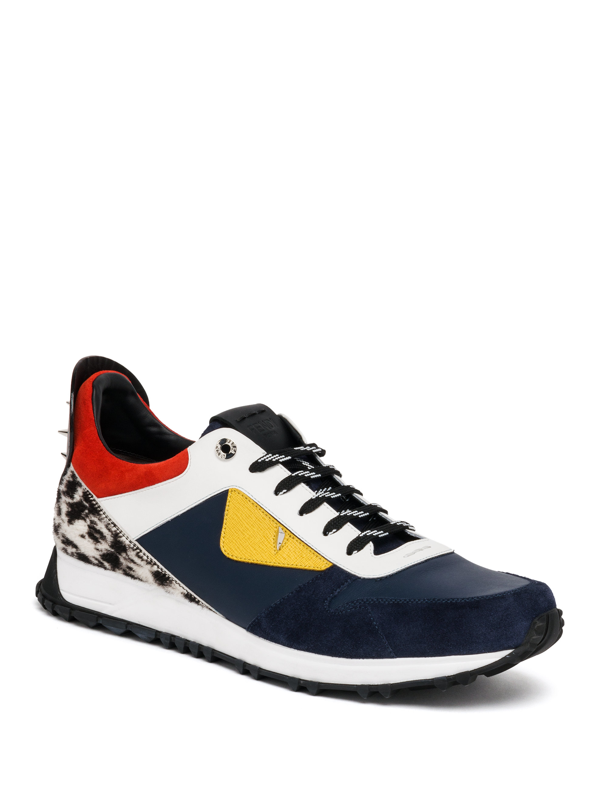 fendi bag bugs leather and suede sneakers for lyst