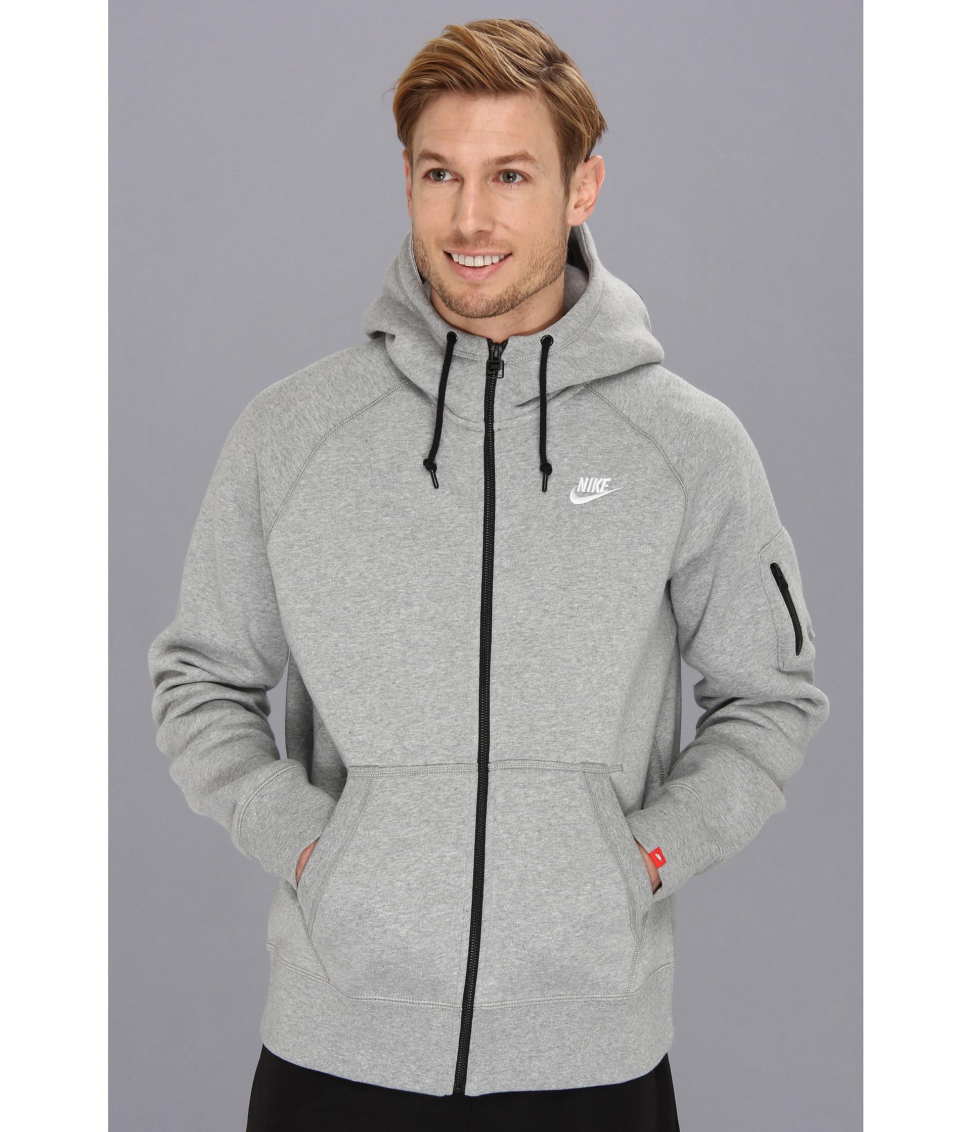Nike Aw77 Fleece Fz Hoodie in Gray for Men (Dark Grey Heather/White)   Lyst
