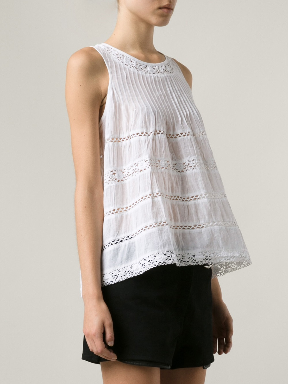 3ca0883afae5b1 Lyst - Love Sam Pleated Lace Inset Tank in White