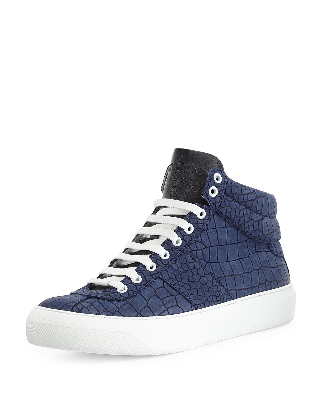 5b73508ecb Jimmy Choo Belgravia Croc-Embossed Sneakers in Blue for Men - Lyst
