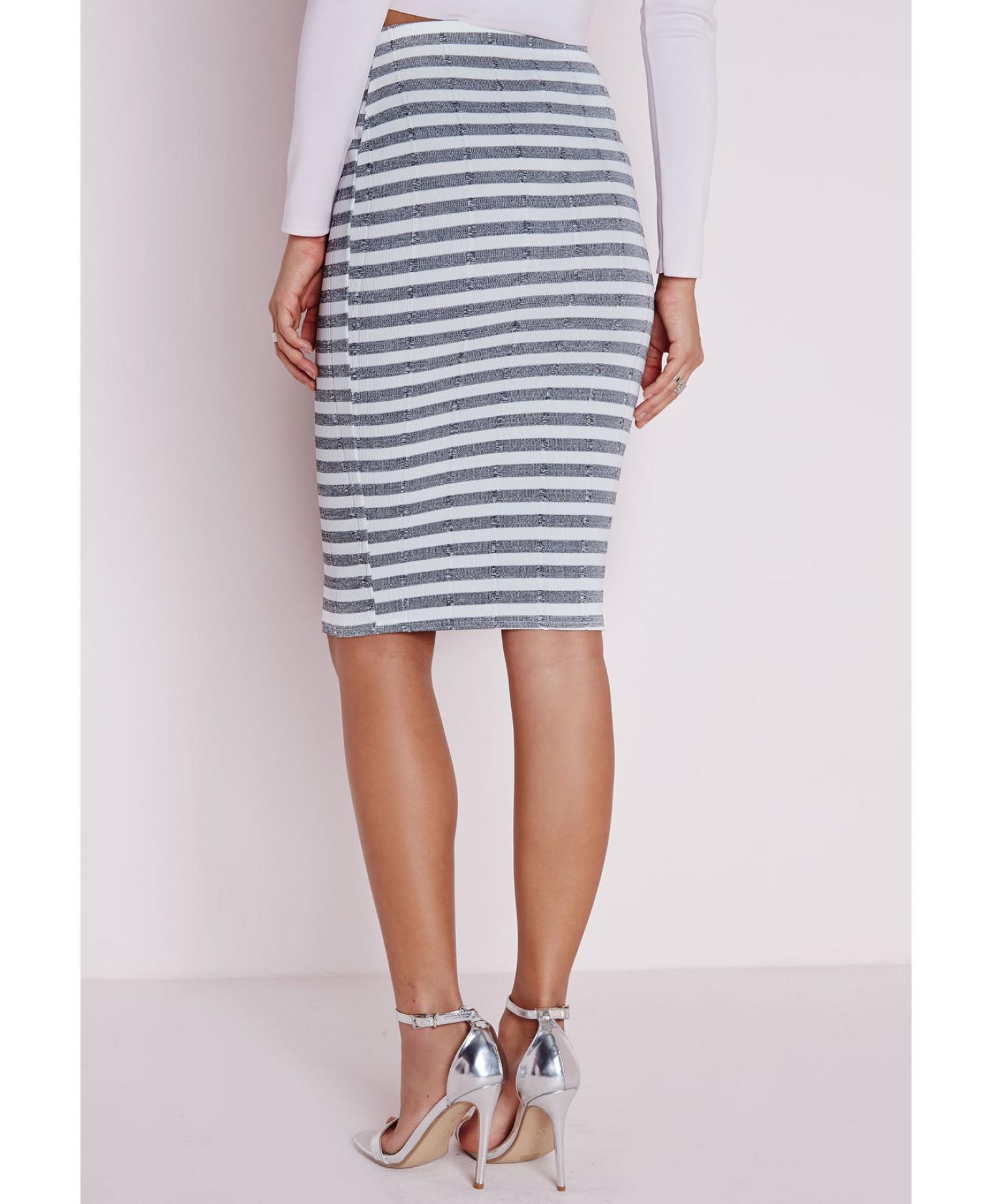 missguided ribbed stripe print midi skirt white in blue