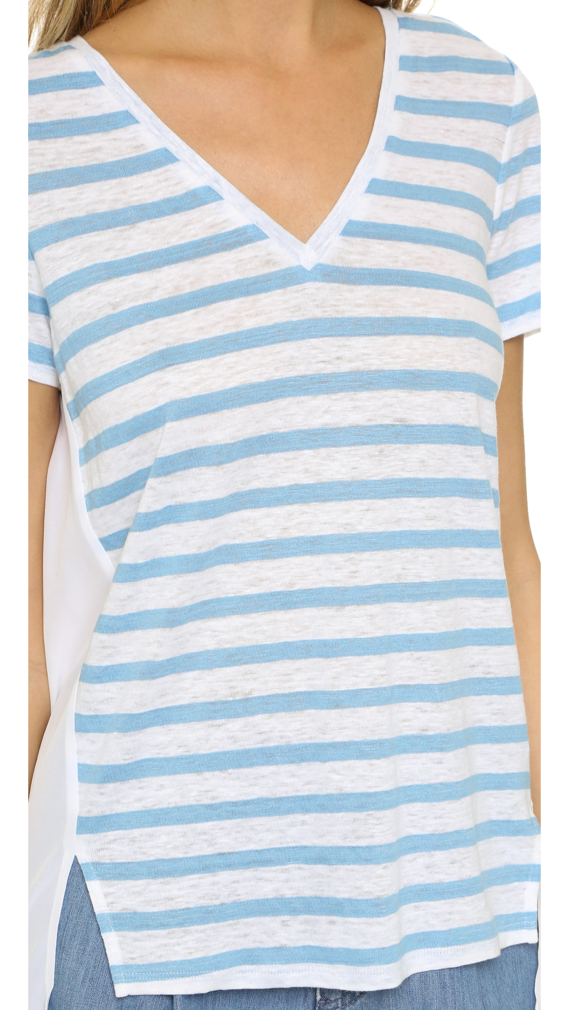 Lyst tory burch t shirt with woven back in blue for Tory burch t shirt
