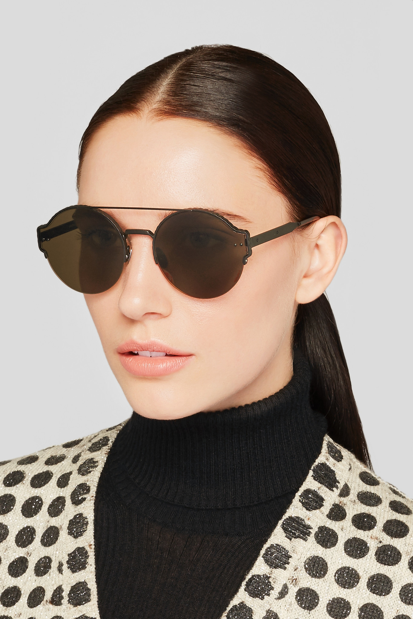 Bottega Veneta Round Frame Metal Sunglasses In Black Lyst