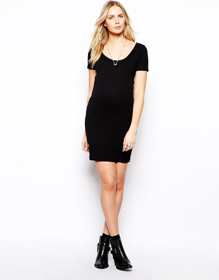 Asos Rib Bodycon Dress With Short Sleeve in Black   Lyst
