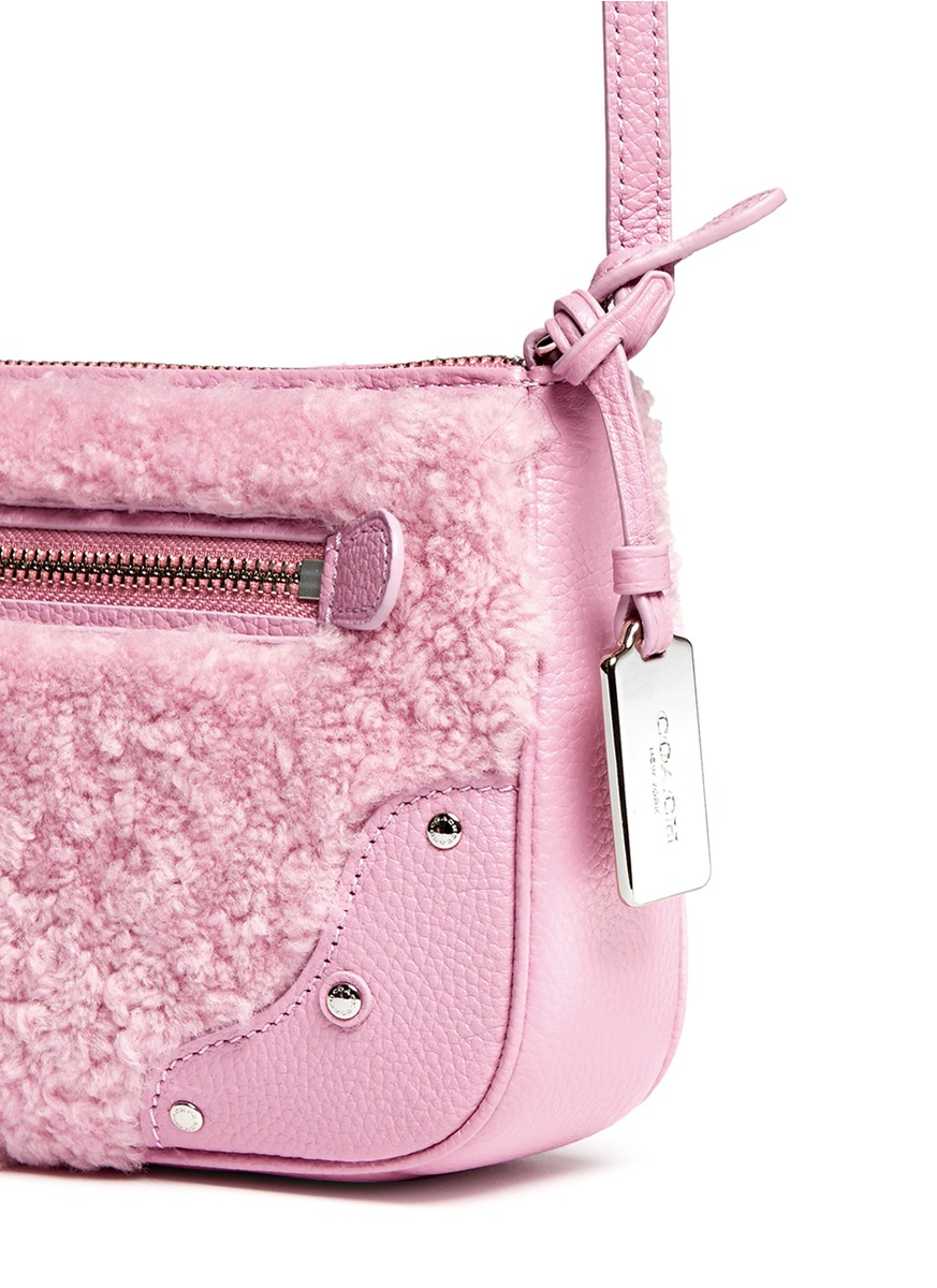 Lyst Coach Small Rhyder Shearling Panel Leather Crossbody Bag In Pink