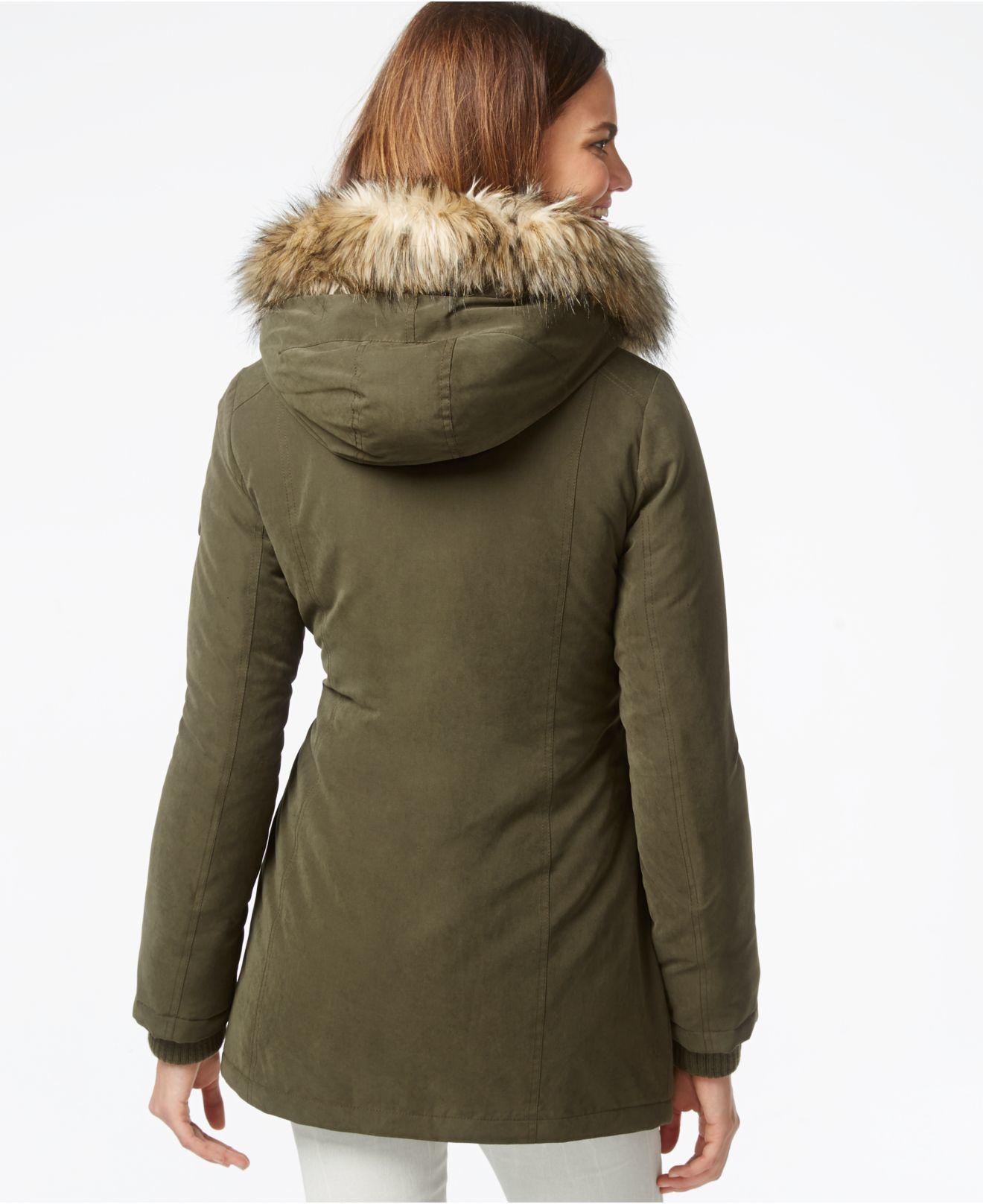 Lyst Dkny Faux Fur Trim Parka Jacket In Green