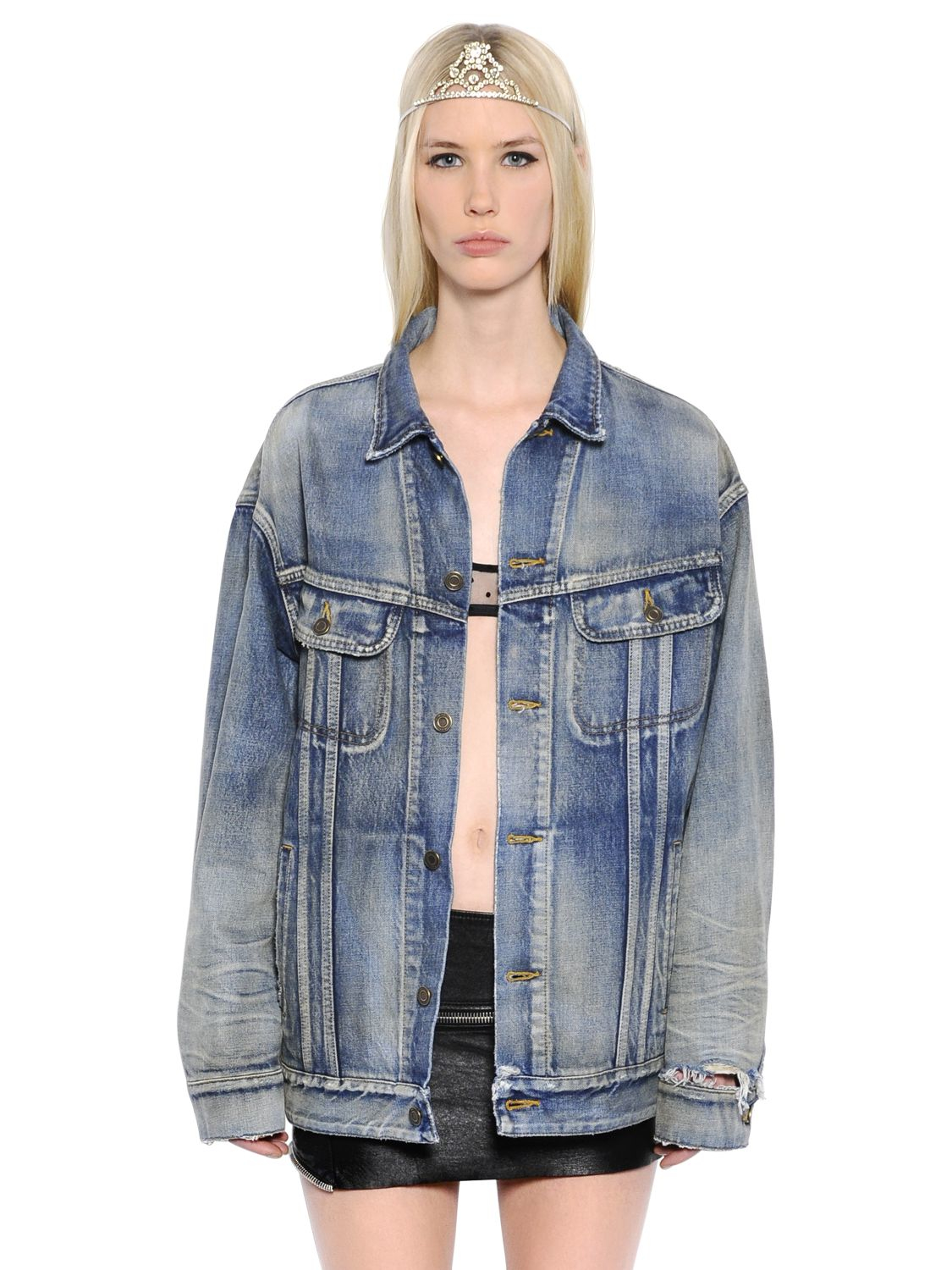 Womens Embroidered Cotton Chambray Shirt Saint Laurent Best Deals With Credit Card Cheap Price XKSdtS