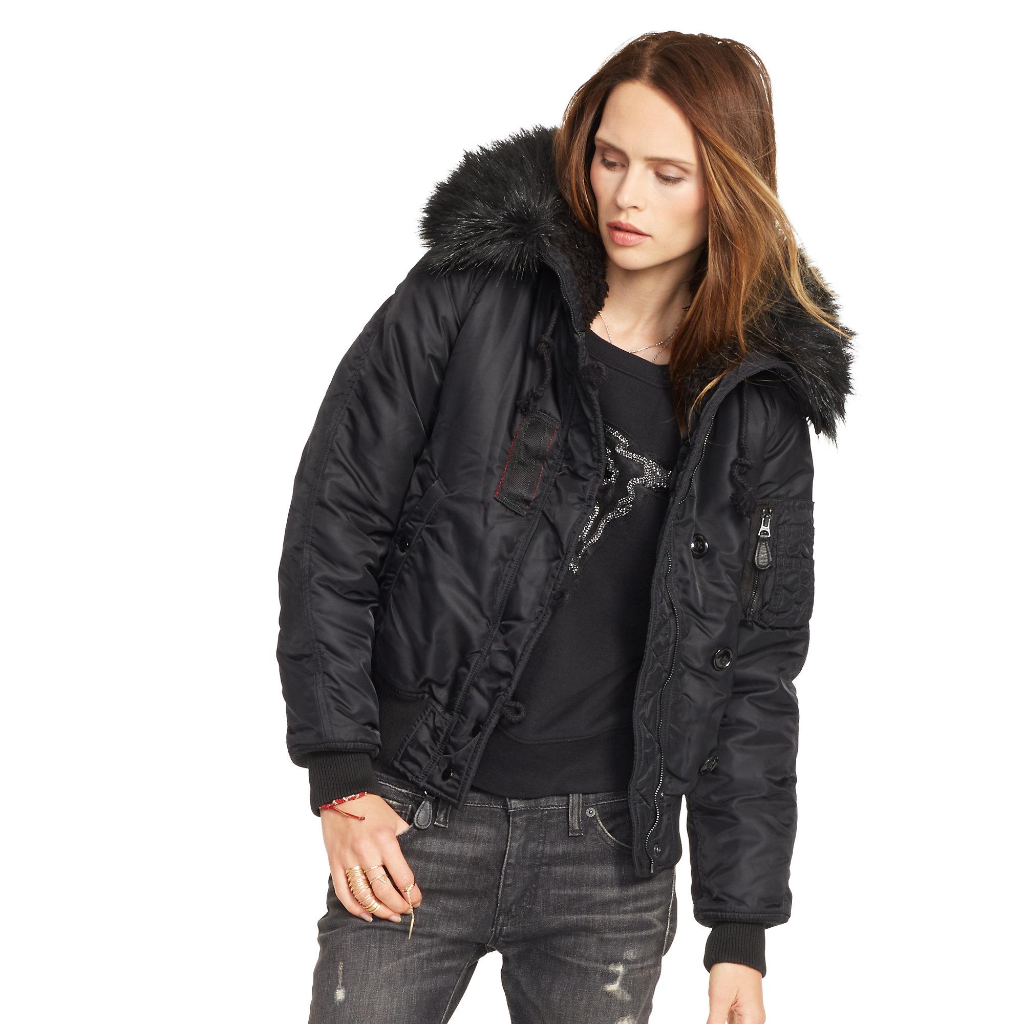 Lyst - Denim   Supply Ralph Lauren Hooded Down Bomber Jacket in Black 7d4ebd02f
