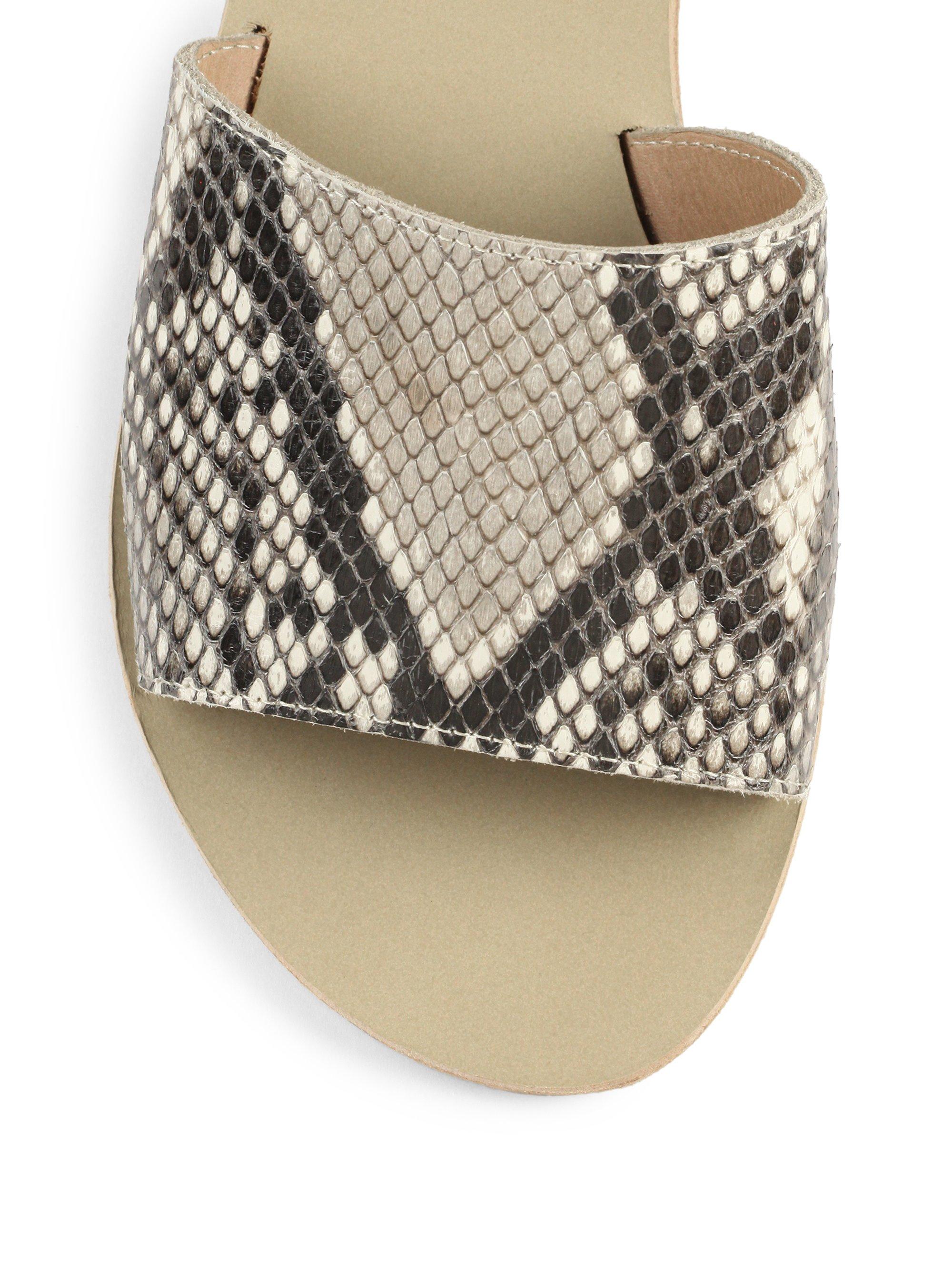 Lyst Ancient Greek Sandals Taygete Python Slides In Natural