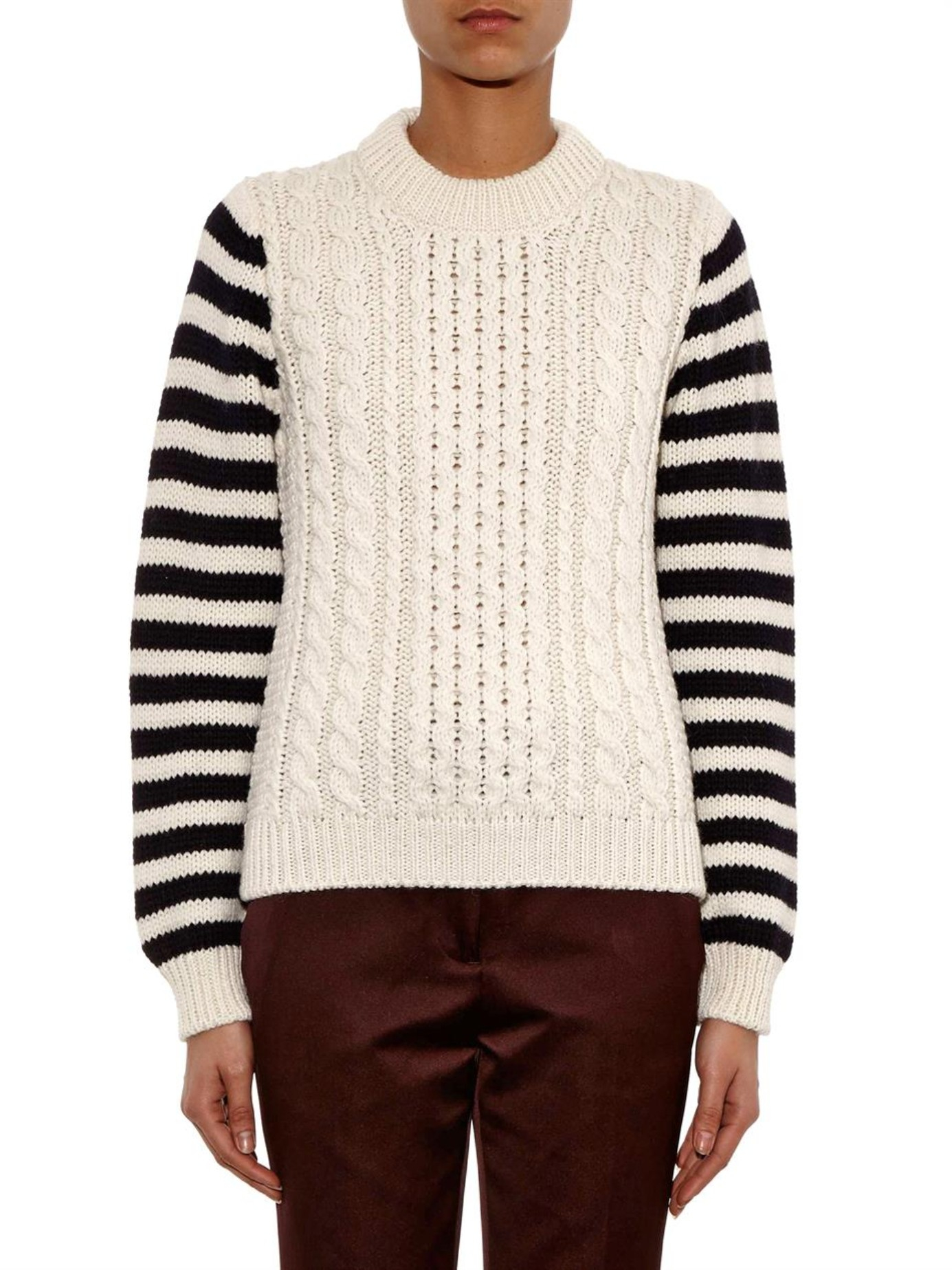 &daughter Striped-sleeve Aran-knit Sweater in Black | Lyst