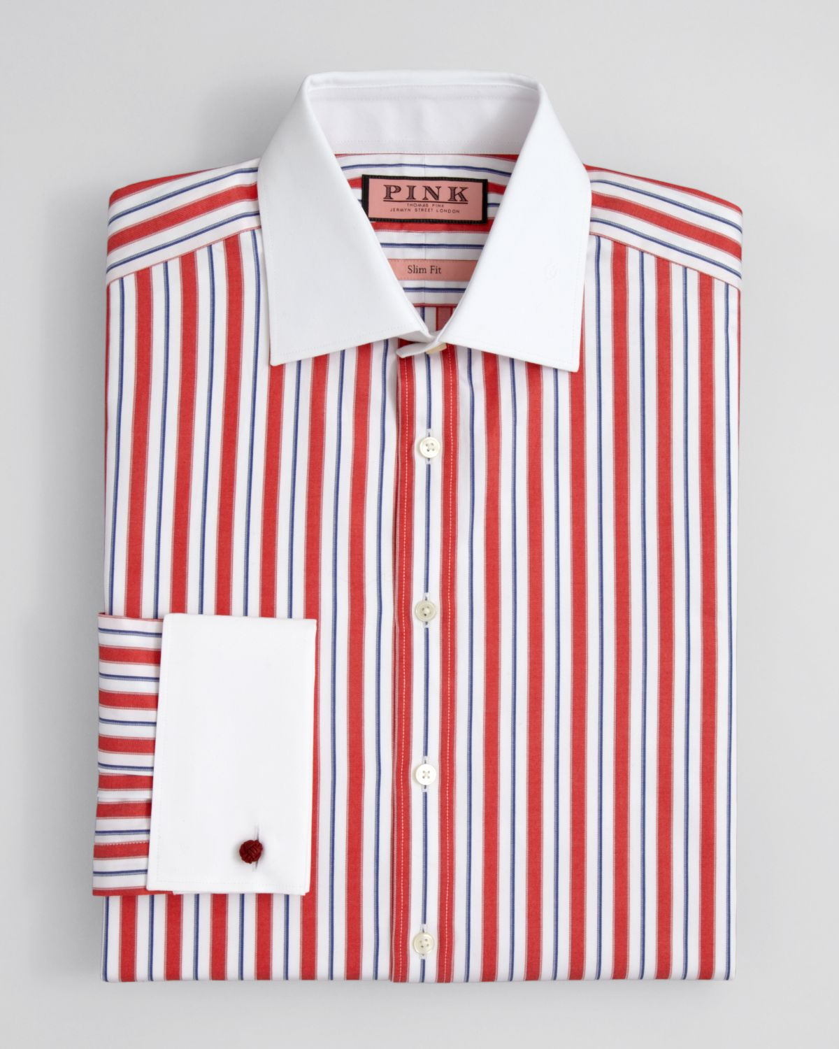 Thomas pink Linford Stripe Dress Shirt Contemporary Fit in Red for ...