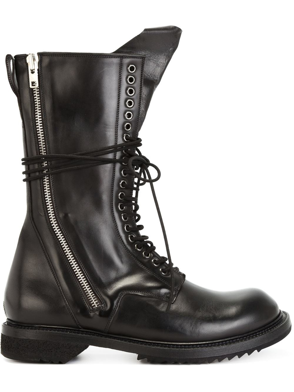 Lyst Rick Owens Lace Up Leather Combat Boots In Black
