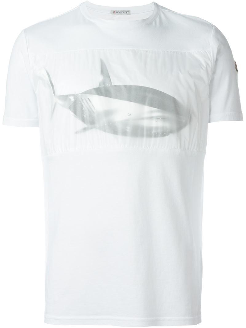 Moncler Mechanical Fish Print T Shirt In White For Men Lyst