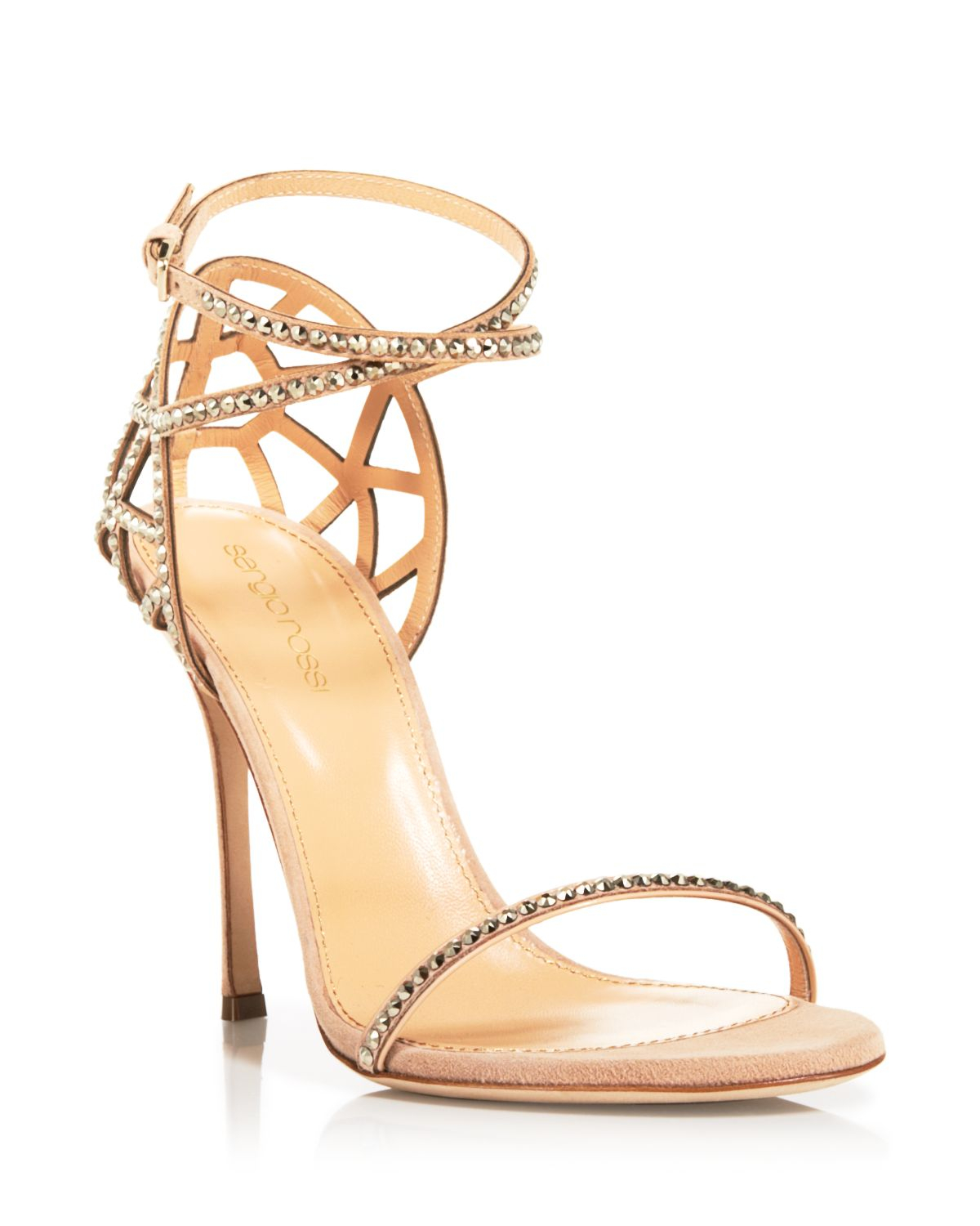 Gold Strappy High Heels - Qu Heel