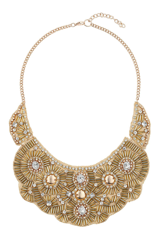 lyst topshop beaded bib necklace in metallic